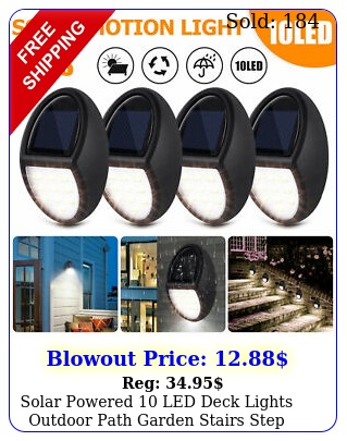 solar powered led deck lights outdoor path garden stairs step fence lamp pc