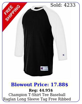 champion tshirt tee baseball raglan long sleeve tag free ribbed cotton me