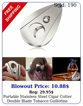 portable stainless steel cigar cutter double blade tobacco guillotine scissor