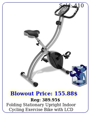 folding stationary upright indoor cycling exercise bike with lcd monito