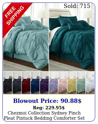 chezmoi collection sydney pinch pleat pintuck bedding comforter set color