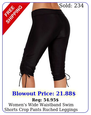 women's wide waistband swim shorts crop pants ruched leggings swimwear bottom