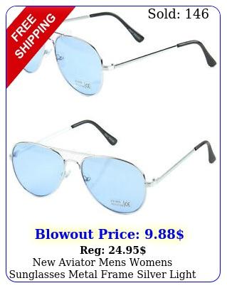 aviator mens womens sunglasses metal frame silver light blue retro pilo