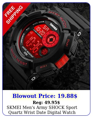 skmei men's army shock sport quartz wrist date digital watch waterproof militar