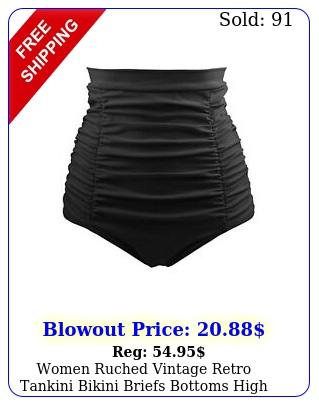 women ruched vintage retro tankini bikini briefs bottoms high waist swim short