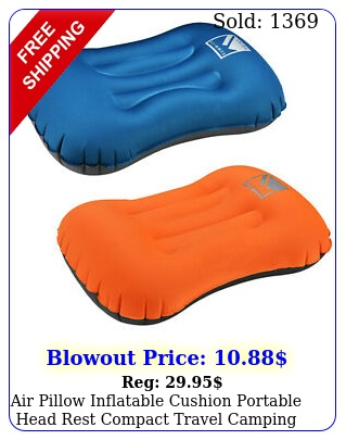 air pillow inflatable cushion portable head rest compact travel camping w pouc