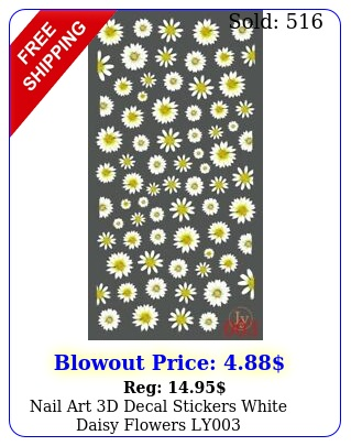 nail art d decal stickers white daisy flowers l