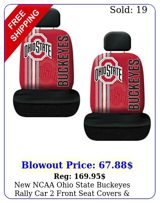 ncaa ohio state buckeyes rally car front seat covers headrest covers se