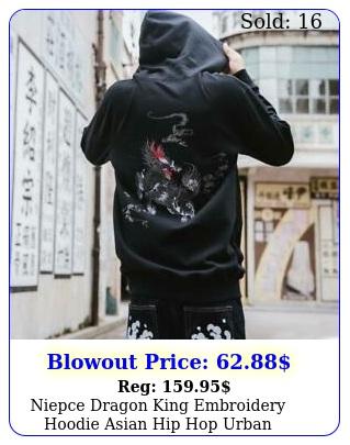 niepce dragon king embroidery hoodie asian hip hop urban streetwear sweatshir