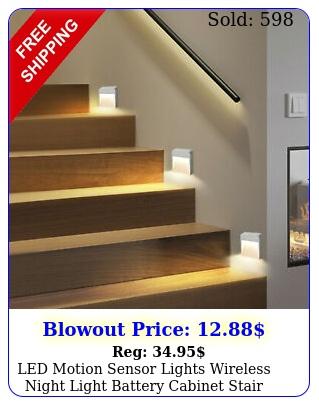 led motion sensor lights wireless night light battery cabinet stair lamp home u