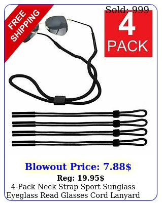 pack neck strap sport sunglass eyeglass read glasses cord lanyard holder blac