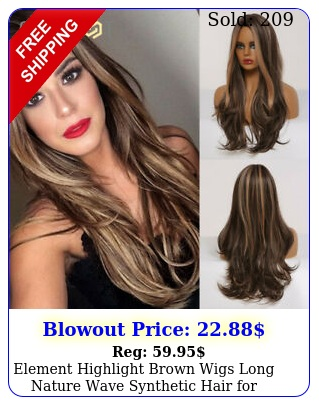 element highlight brown wigs long nature wave synthetic hair woman daily wi