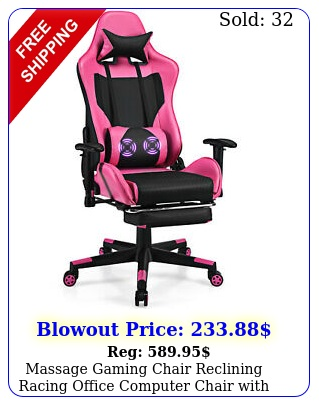 massage gaming chair reclining racing office computer chair with footrest pin