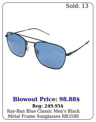 rayban blue classic men's black metal frame sunglasses rb