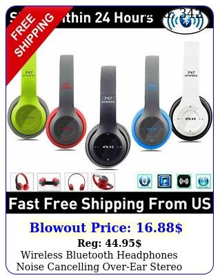 wireless bluetooth headphones noise cancelling overear stereo earphones headse