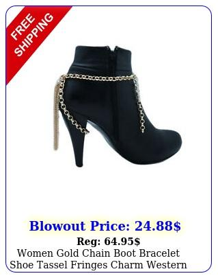 women gold chain boot bracelet shoe tassel fringes charm western biker accessor