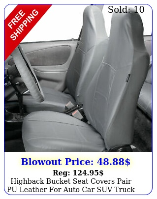 highback bucket seat covers pair pu leather auto car suv truck gra