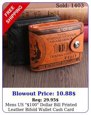 mens us dollar bill printed leather bifold wallet cash card holder purs
