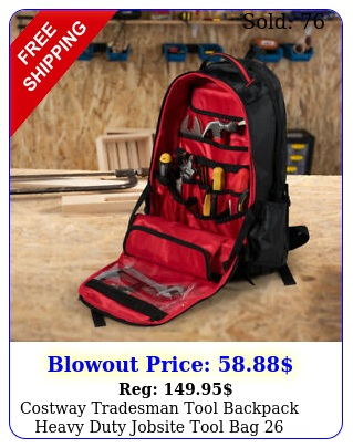costway tradesman tool backpack heavy duty jobsite tool bag pockets w bas