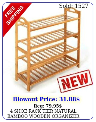 shoe rack tier natural bamboo wooden organizer stand storage shelf uni
