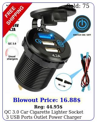 qc car cigarette lighter socket usb ports outlet power charger adapter