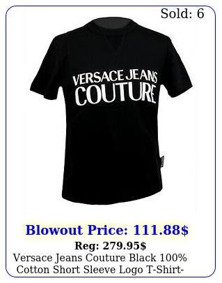versace jeans couture black cotton short sleeve logo tshir
