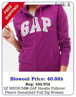 sz medium gap hoodie pullover fleece sweatshirt full zip women arch log