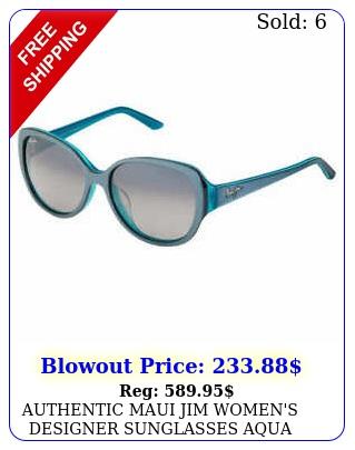 authentic maui jim women's designer sunglasses aqua blue grey frame grey len