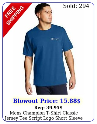mens champion tshirt classic jersey tee script logo short sleeve classic cotto