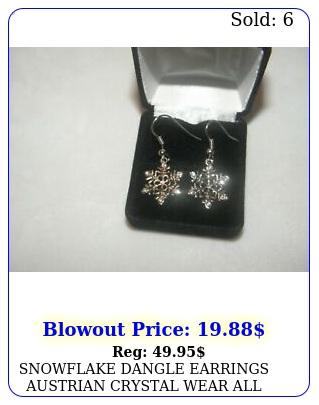 snowflake dangle earrings austrian crystal wear all winter christmas teache