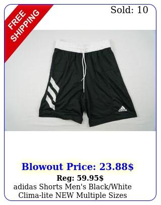 adidas shorts men's blackwhite climalite multiple size