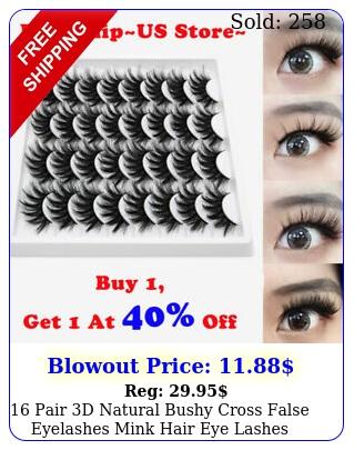 pair d natural bushy cross false eyelashes mink hair eye lashes black u