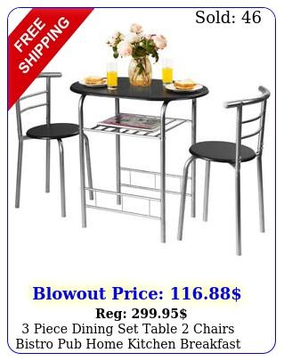 piece dining set table chairs bistro pub home kitchen breakfast furnitur