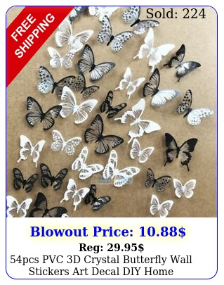 pcs pvc d crystal butterfly wall stickers art decal diy home bedroom decorat