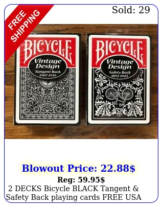 decks bicycle black tangent safety back playing cards free usa shippin