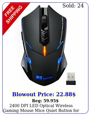 dpi led optical wireless gaming mouse mice quiet button pc laptop ma