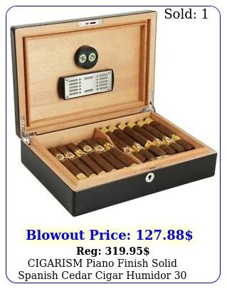 cigarism piano finish solid spanish cedar cigar humidor count blac