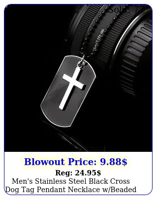 men's stainless steel black cross dog tag pendant necklace wbeaded chain gif