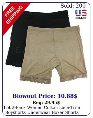 lot pack women cotton lacetrim boyshorts underwear boxer shorts blackneutra