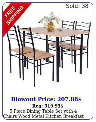 piece dining table set with chairs wood metal kitchen breakfast furnitur