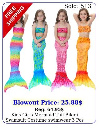 kids girls mermaid tail bikini swimsuit costume swimwear pcs set year