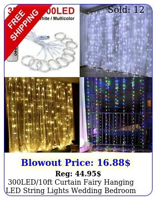 ledft curtain fairy hanging led string lights wedding bedroom home deco