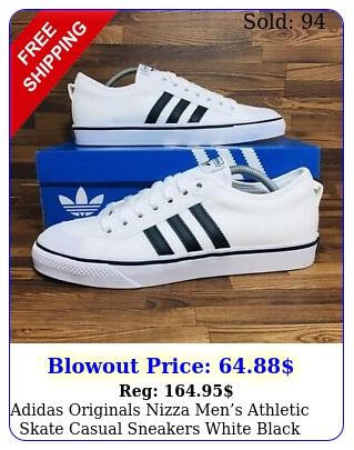 adidas originals nizza mens athletic skate casual sneakers white black shoe
