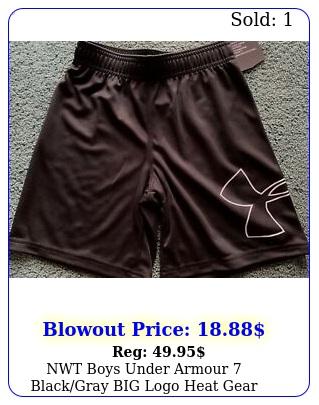 nwt boys under armour blackgray big logo heat gear short