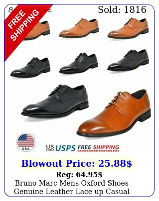 bruno marc mens oxford shoes genuine leather lace up casual shoes dress shoe