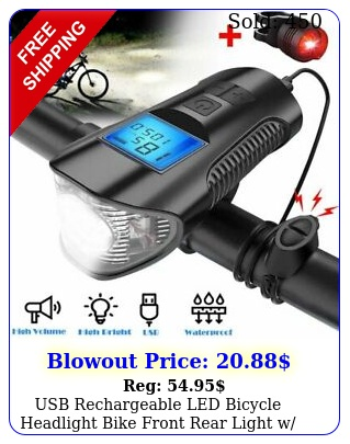 usb rechargeable led bicycle headlight bike front rear light w horn speedomete