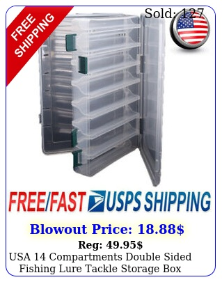 usa compartments double sided fishing lure tackle storage case containe