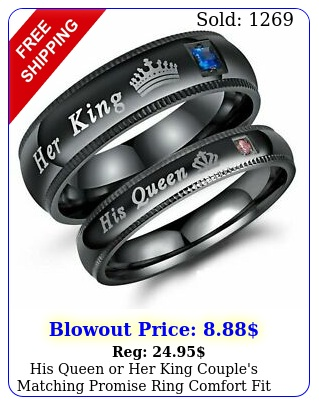 his queen or king couple's matching promise ring comfort fit wedding ban