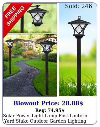 solar power light lamp post lantern yard stake outdoor garden lighting  i