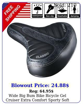 wide big bum bike bicycle gel cruiser extra comfort sporty soft pad saddle sea